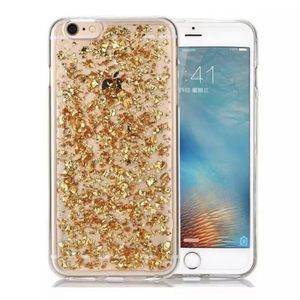 iPhone Case Back Cover Gold Flakes 6 6s 7 8 Plus X